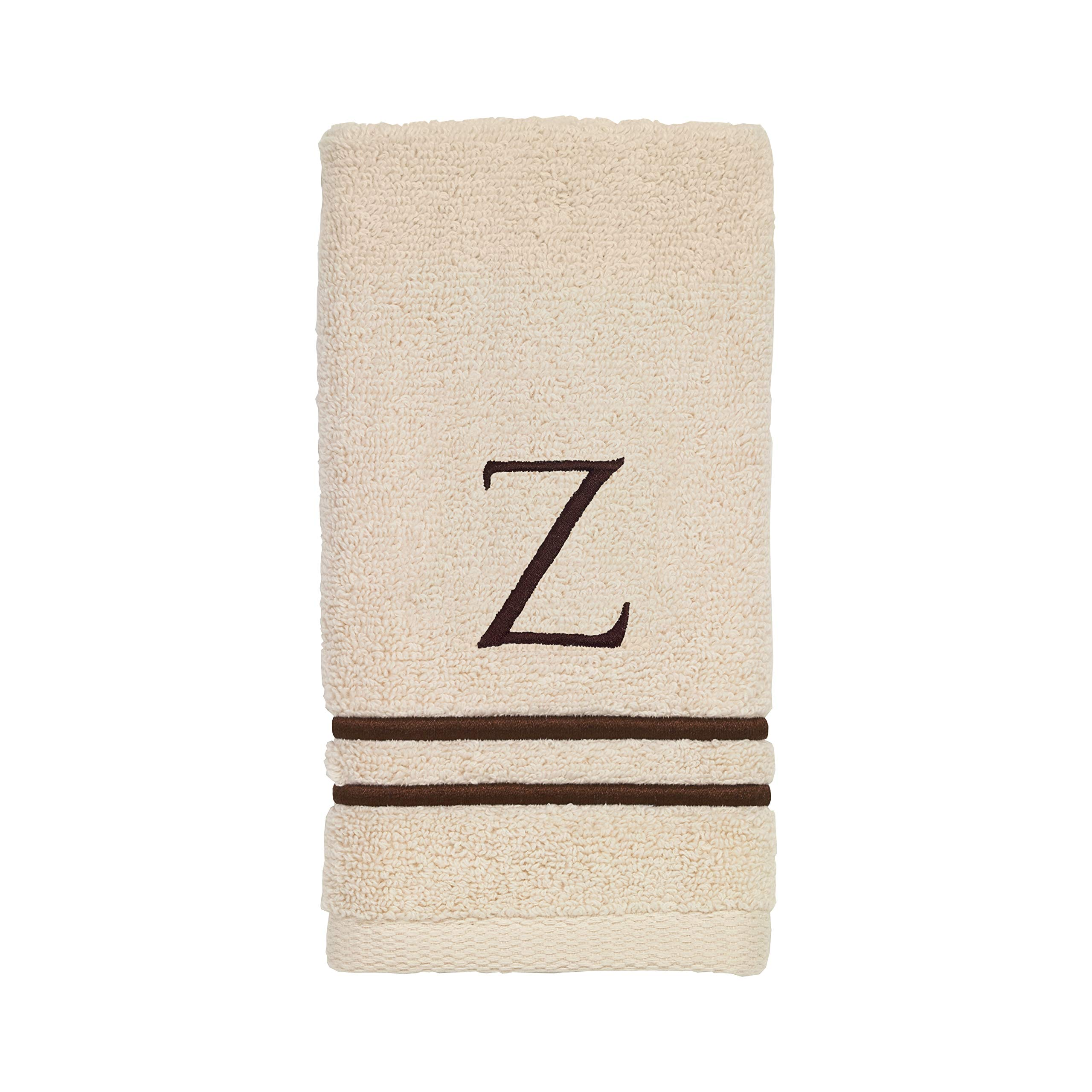 Avanti Linens 050876Z Block Monogram Bath/Hand and Fingertip Towel Kit, Medium, Ivory/Mocha