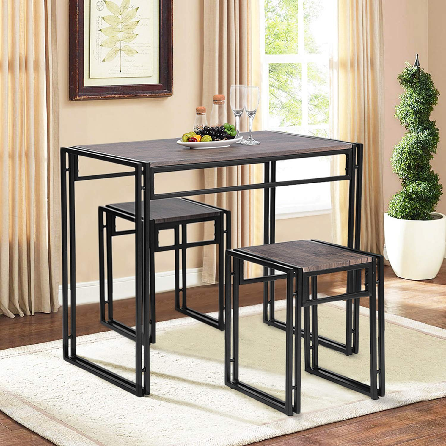 House in Box Stylish Bar Table Set Breakfast Kitchen Dining Table Essien Jm 2PCS Wooden End Chairs with Metal Legs