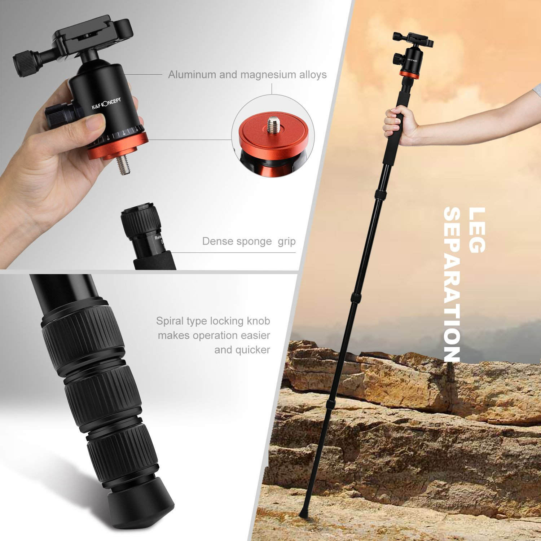 Tr/ípode Profesional K/&F Concept TM2534T Tr/ípode Extensible Monopod 4 Secciones con 360/° y 180/° Columna Central Cabeza de Bola Placa R/ápida Liberazaci/ón para C/ámara DSLR Canon Nikon Sony GoPro