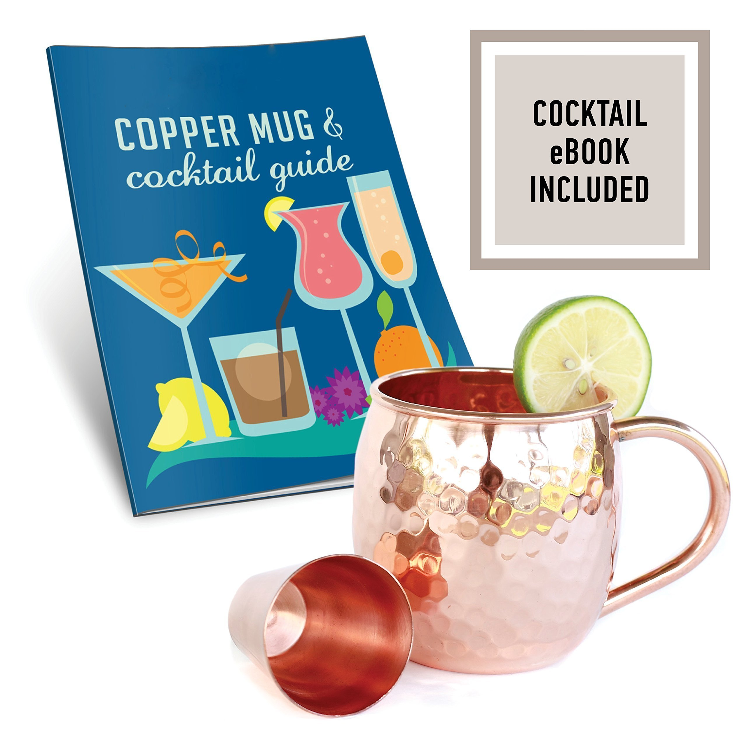 Set of 2 Moscow Mule Copper Mugs with Shot Glass - Two 16 Oz Copper Moscow Mule Mugs - Solid Copper Hammered Mug - Copper Cups for Moscow Mules by Willow & Everett (Image #5)