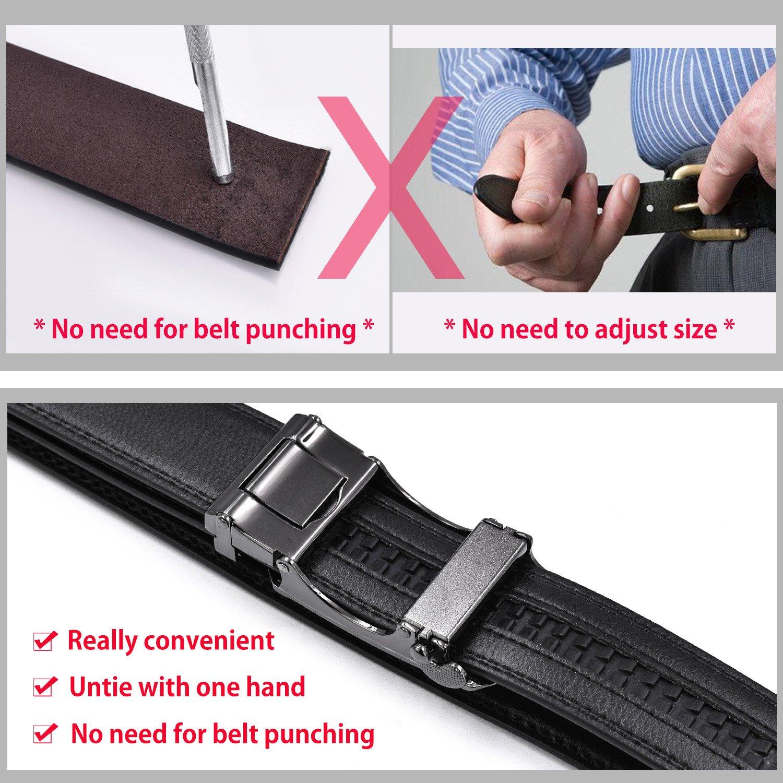 waist size 38/'/'-42/'/', Black-3 Mens Belt Genuine Leather Adjustable Ratchet Belt with Automatic Buckle Black