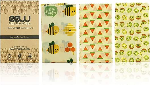 Organic & Reusable 3-Pack Beeswax Food Wraps, Sustainable Eco-Friendly, Non-Toxic 100% BPA Free, Organic Cotton Wraps 1 Large, 1 Medium, 1 Small