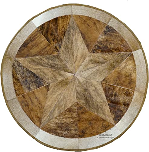RODEO Texas Star Patch Work Cowhide Rug with linging Diameter 40 in Pecan