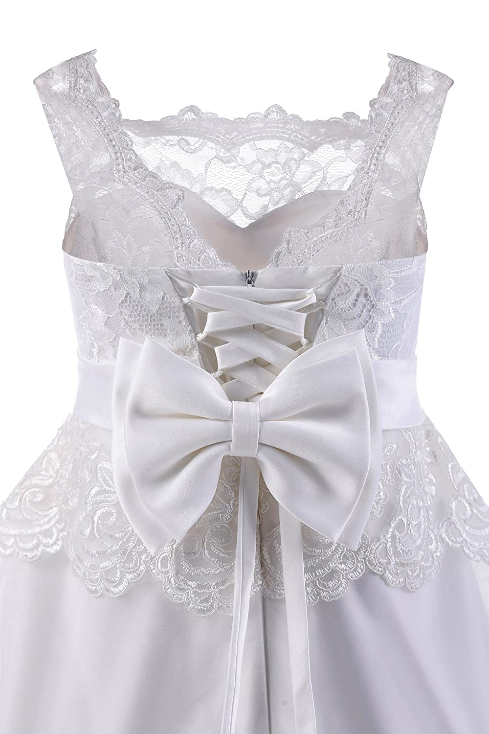 7e7a1878c18b Amazon.com: Abaowedding Ball Gown Lace up Flower First Communion Girl  Dresses: Clothing