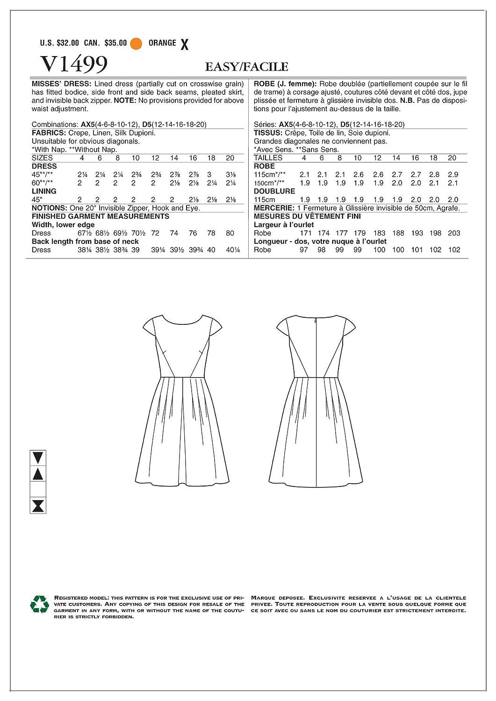 Vogue Patterns Vogue Mustern 1499 D5 Schnittmuster Kleid, Größe 12 ...