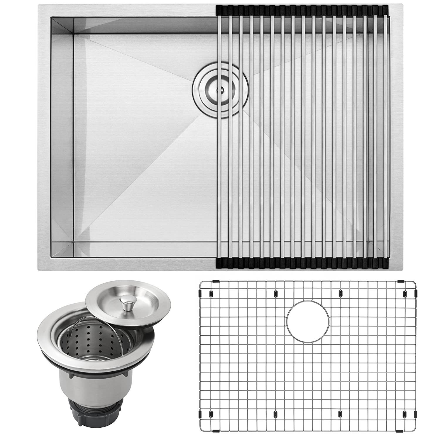 26 Ticor S3670 Pacific Series 16-Gauge Undermount Stainless Steel Single Bowl Zero Radius Square Kitchen Sink with Accessories