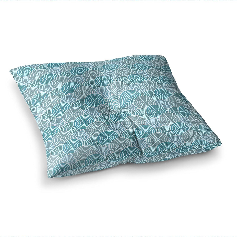 23 x 23 Square Floor Pillow Kess InHouse Nick Atkinson Ocean Swirl Teal Green