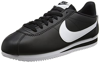 NIKE Women's Classic Cortez Leather Black/White/White Casual Shoe 6 Women US
