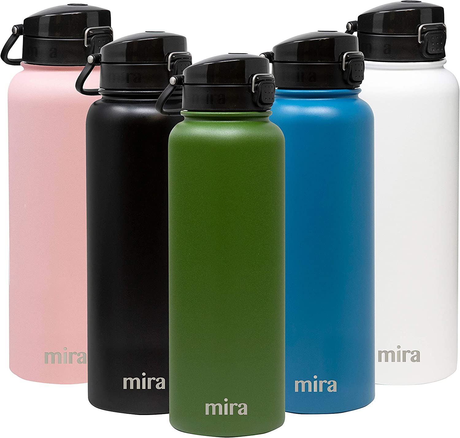 MIRA 40 oz Stainless Steel Water Bottle - Hydro Vacuum Insulated Metal Thermos Flask Keeps Cold for 24 Hours, Hot for 12 Hours - BPA-Free One Touch Spout Lid Cap - Olive Green
