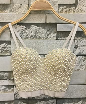 30ef52ed61 Amazon.com  GainKee Hand-Made Pearls Bustier Bra Corset Top Bralet Clubwear Cropped  Top Vest  Clothing