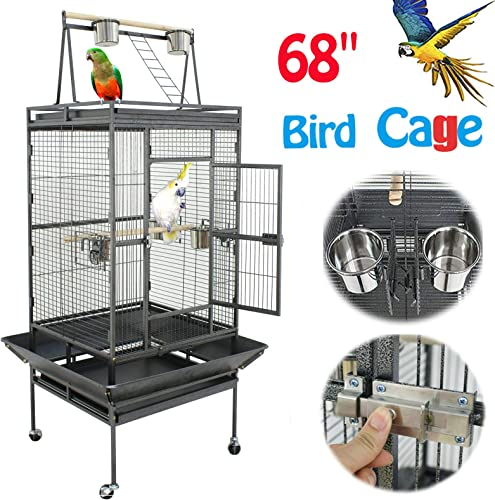 Nova Microdermabrasion 61 68 Inches Large Bird Cage Play Top Parrot Cockatiel Parakeet Chinchilla Macaw Cockatoo Cage W Stand Perch Pet Supplies
