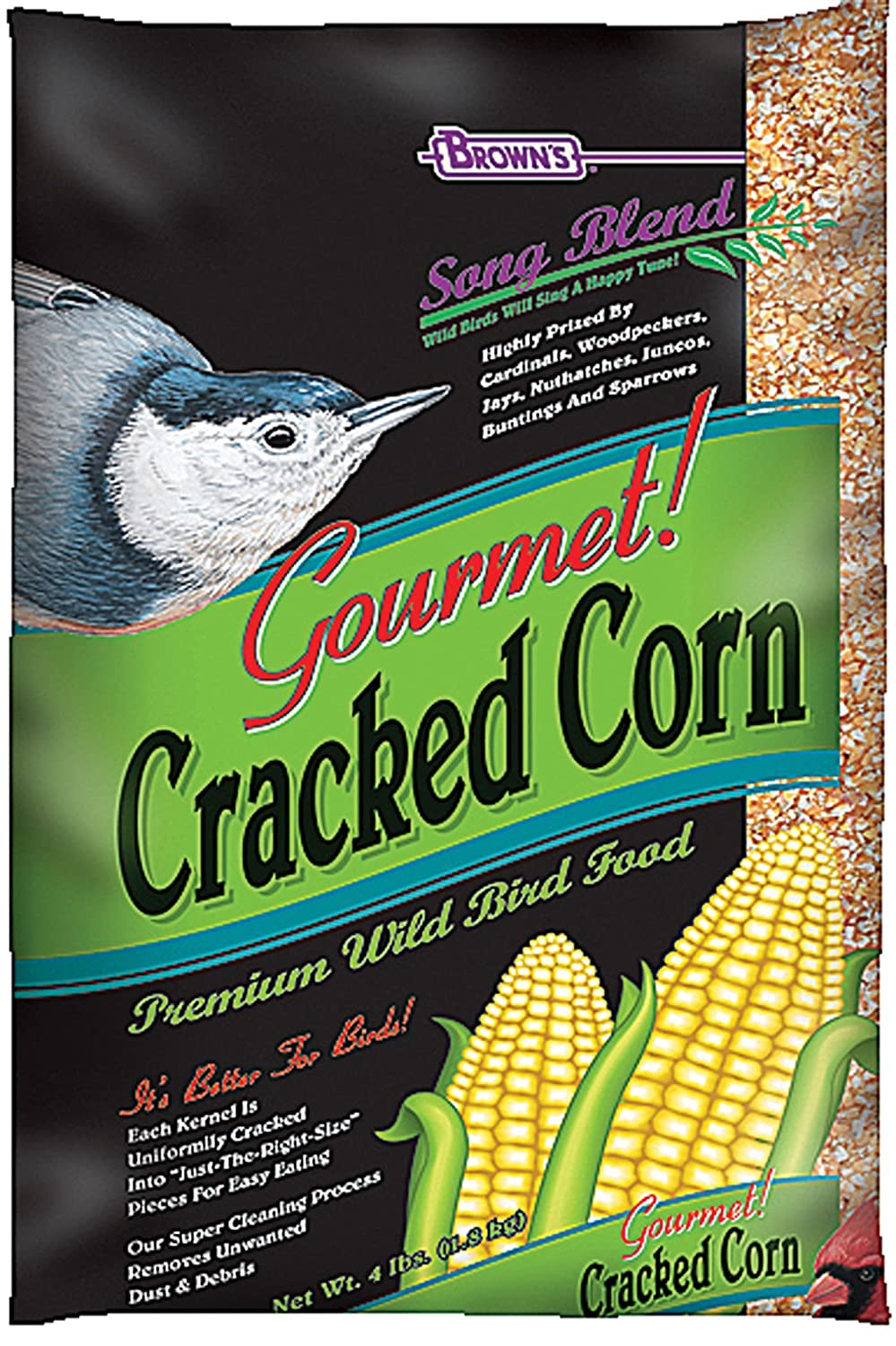 F.M. Brown's Song Blend Gourmet Fine Cracked Corn for Pets, 4-Pound