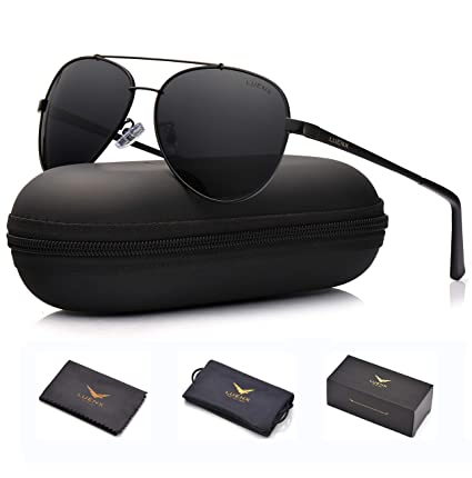 ea172d767d Amazon.com  LUENX Men Women Aviator Sunglasses Polarized Non-Mirror Black  Lens Black Metal Frame with Accessories UV 400 Protection 60MM  Sports    Outdoors