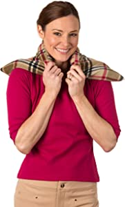Sunny Bay XL Body Heating Pad, Whole Wheat Filled, Heat Therapy Pad for Sore Neck, Back & Shoulder Muscle Pain Relief–Reusable, Non-Electric Heat or Cold Compress, Washable London Plaid Fleece Cover