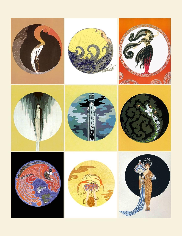Amazon com large stickers each sticker 2 5x3 5 9 stickers on sheet erte french art poster flonz craft vintage art deco ephemera