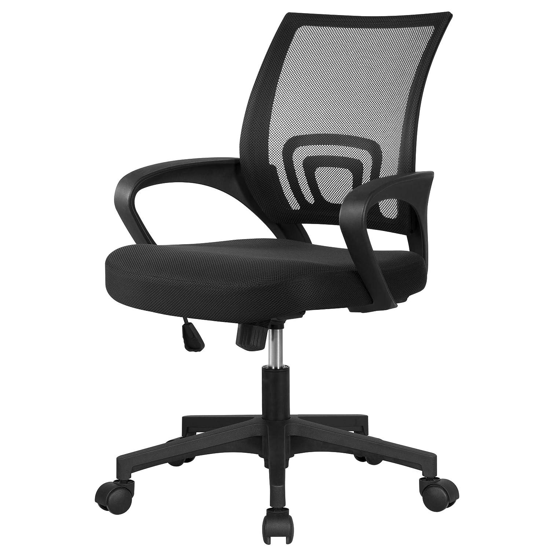 Yaheetech Krzesło biurowe, obrotowe, ergonomiczne, z regulacją wysokości, fotel szefa na kółkach, duże siedzisko, siateczka Nezt czarny