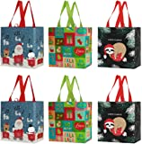 Reusable Grocery Bags Shopping Totes Heavy Duty Water Resistant Laminated Material Assorted Holiday Xmas Christmas…