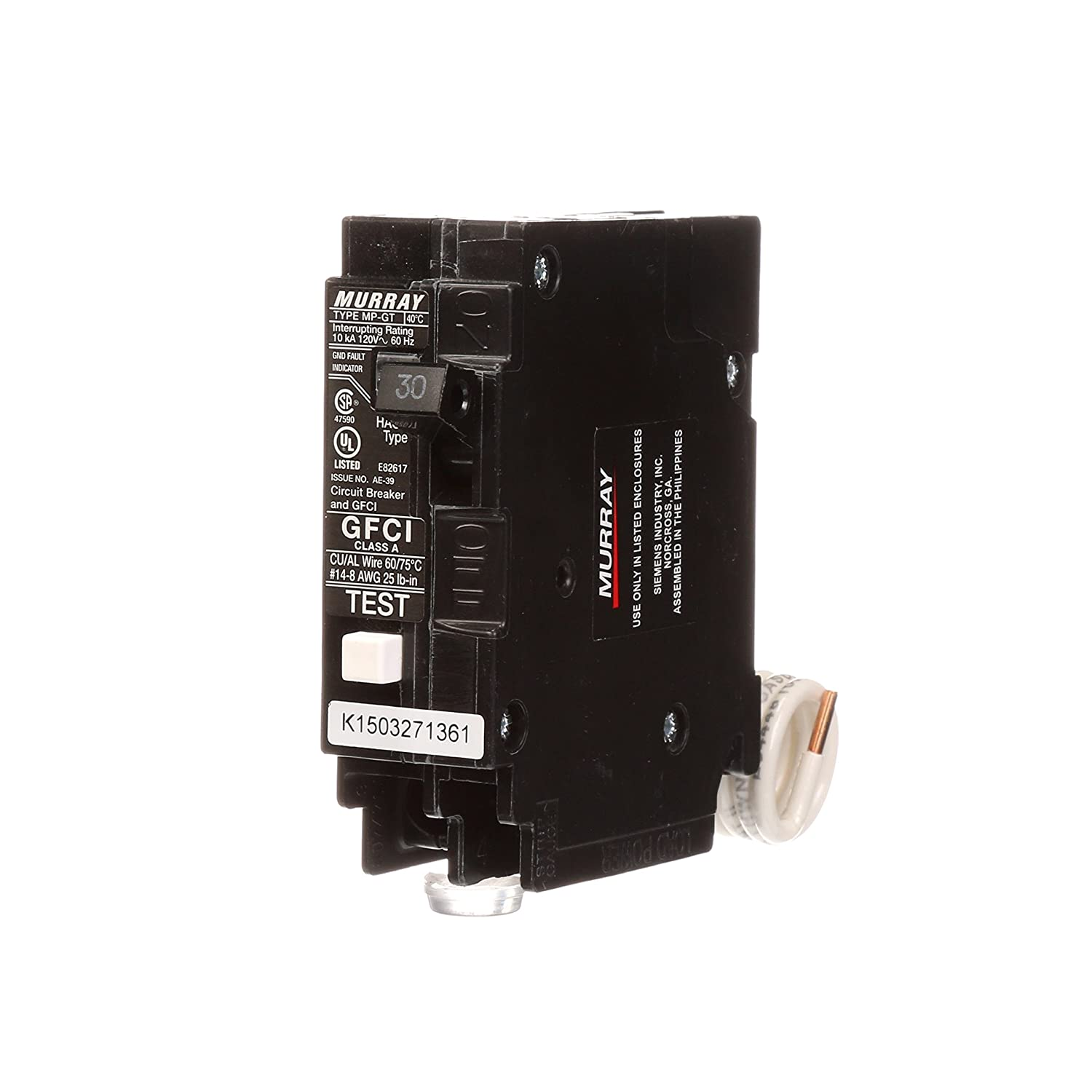 Murray MP130GFA 30 Amp Single Pole GFCI Circuit Breaker with Self Test &  Lockout Feature