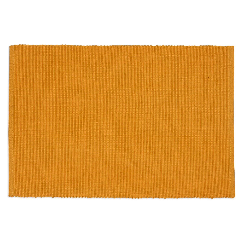 DII 100% Cotton, Ribbed 13x 19'' Everyday Basic Placemat Set of 6, Mango