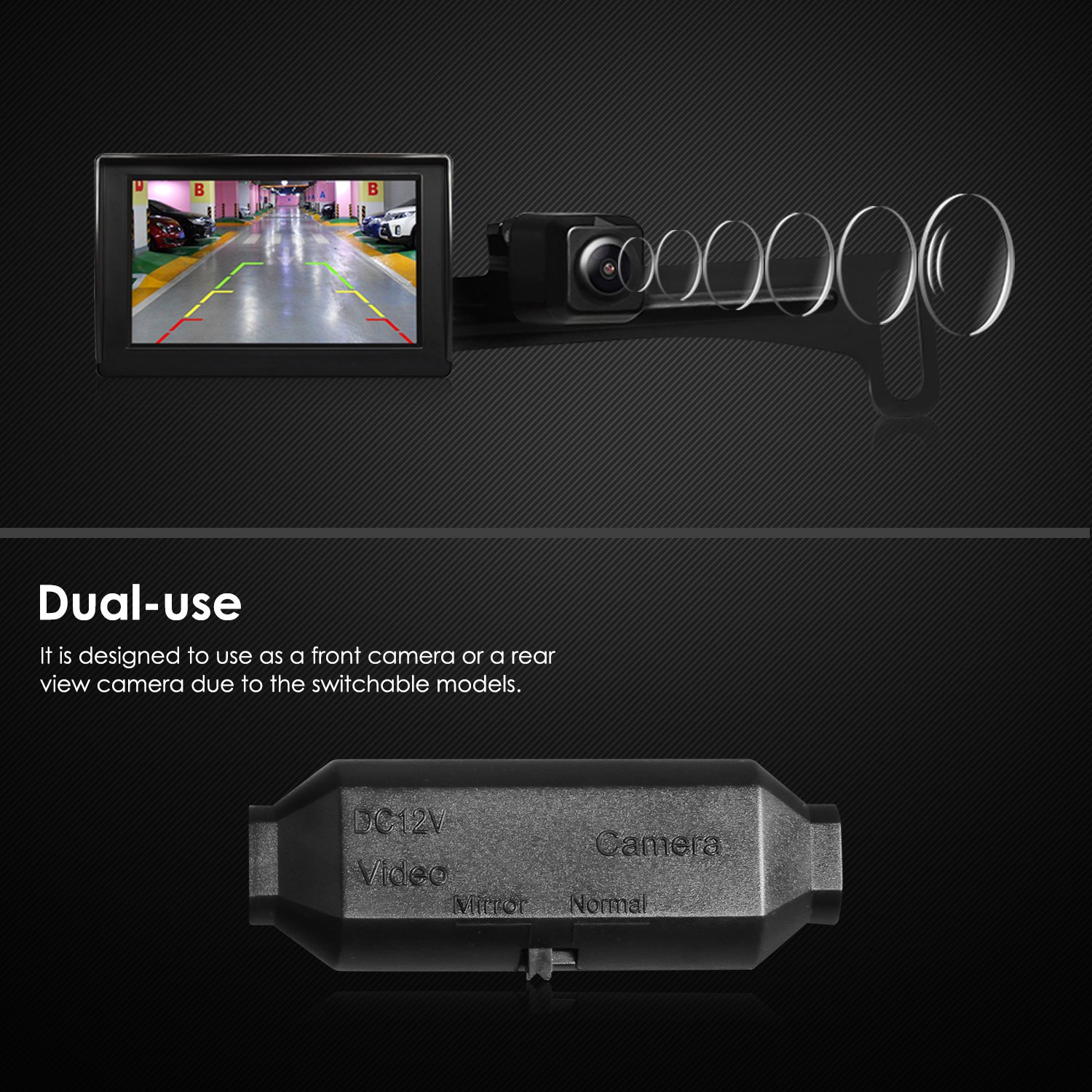AUTO-VOX HD Car Rear View Backup Camera Waterproof License Plate Camera Reverse Parking Monitor Kit with 170 Degree Wide Angle for Truck&RV,High Compatibility by AUTO-VOX (Image #4)