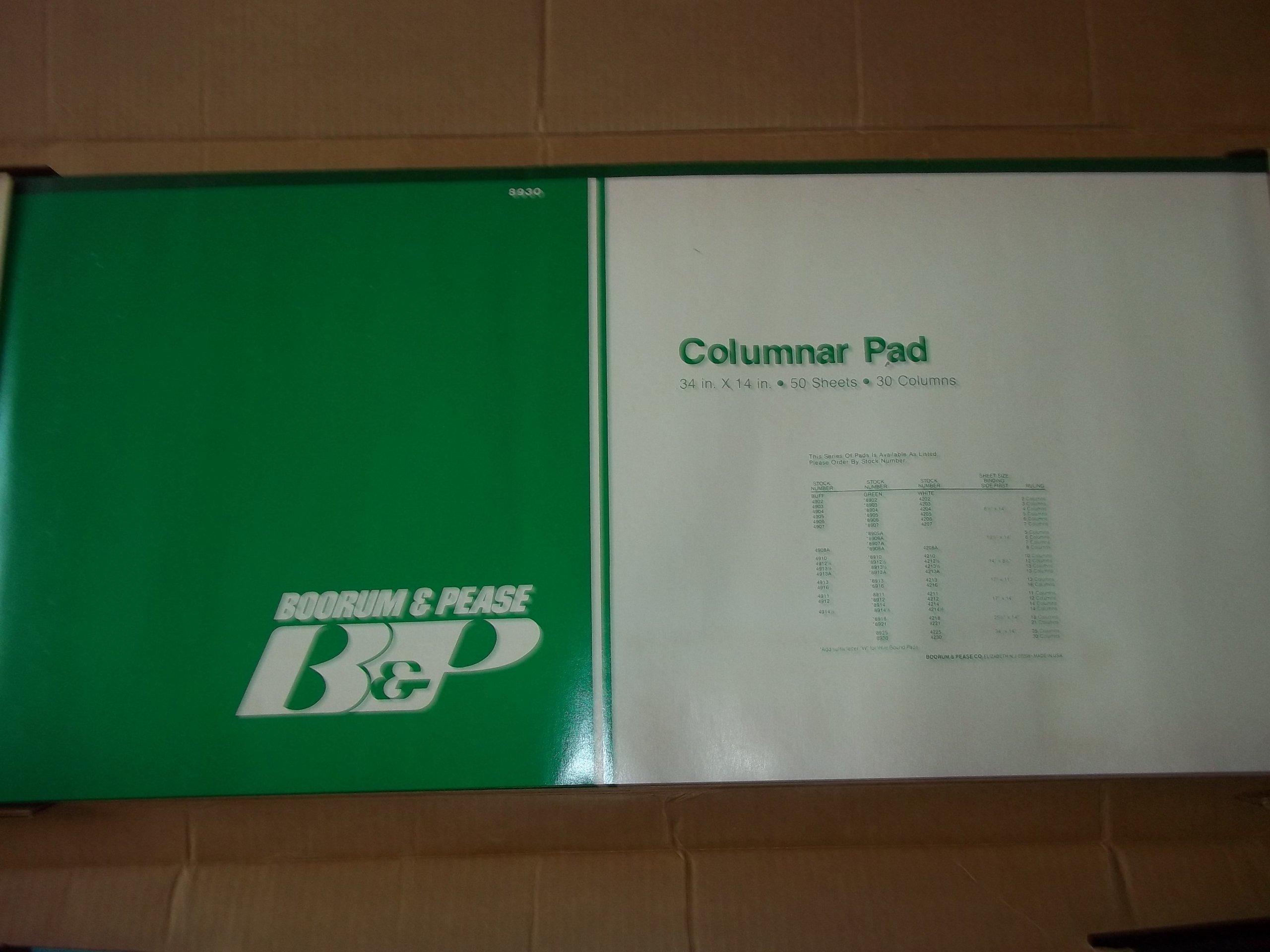 Boorum Pease 8930 Columnar Pad 30 Columns 50 Sheets Green Paper 34'' x 14''
