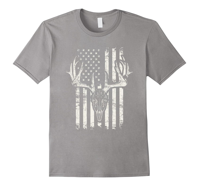 American Flag Hunting Deer Skull Hunter USA T-Shirt
