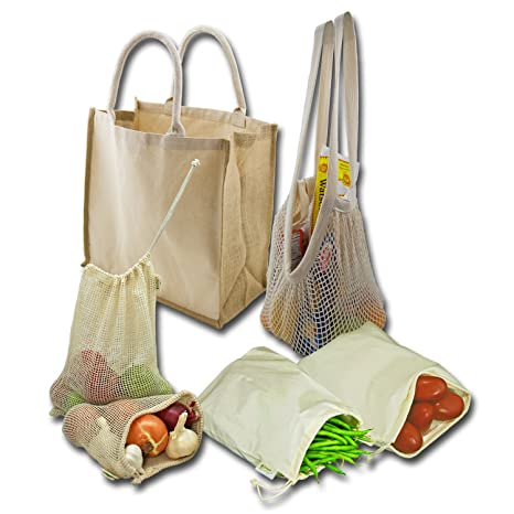 Simple Ecology Organic Reusable Farmers Market Grocery Shopping Bag Set  (gift   starter set 19e54ae907dbb