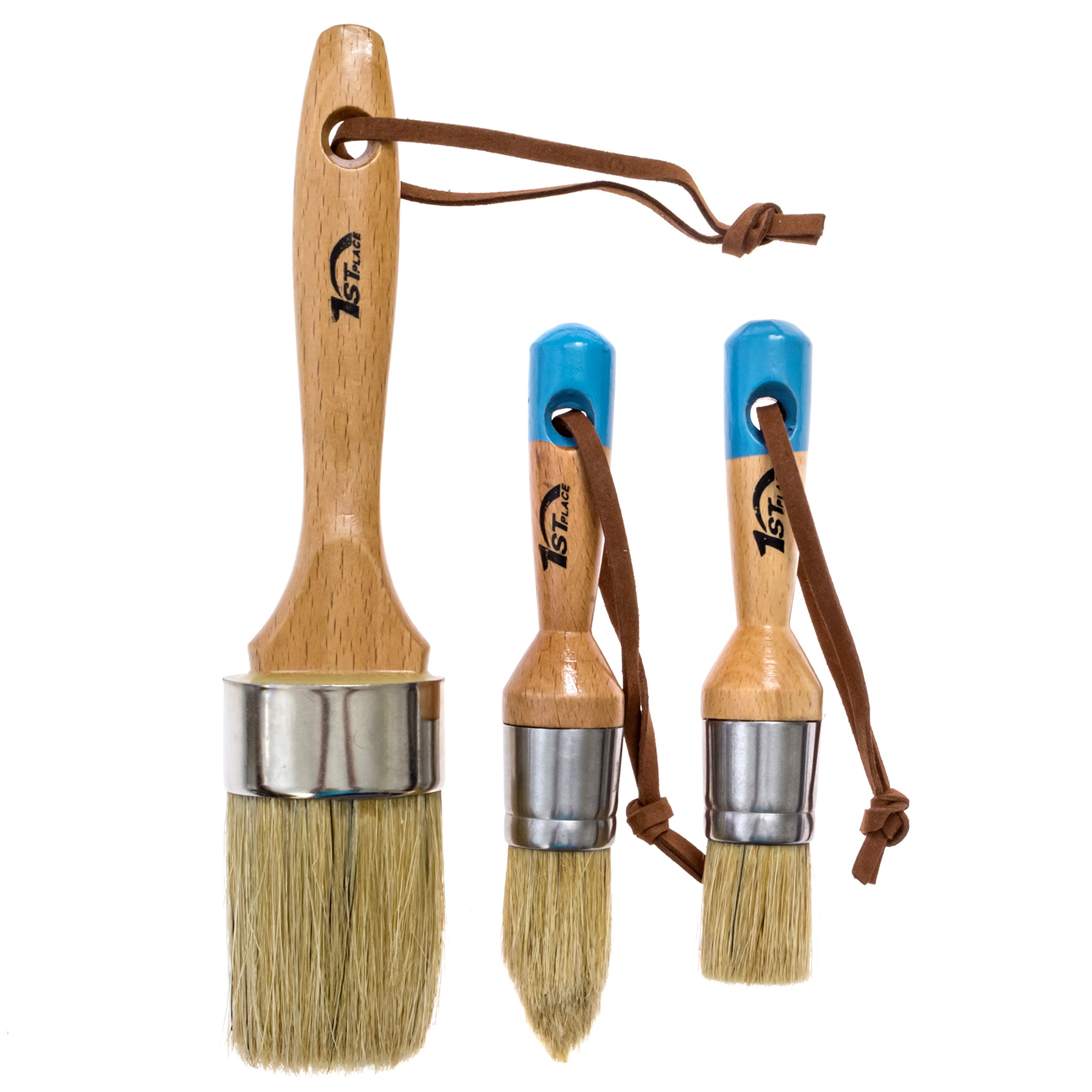 1st Place Chalk Paint & Wax Pure Bristle Brushes - Hand Made - Complete Set (3 Brushes)
