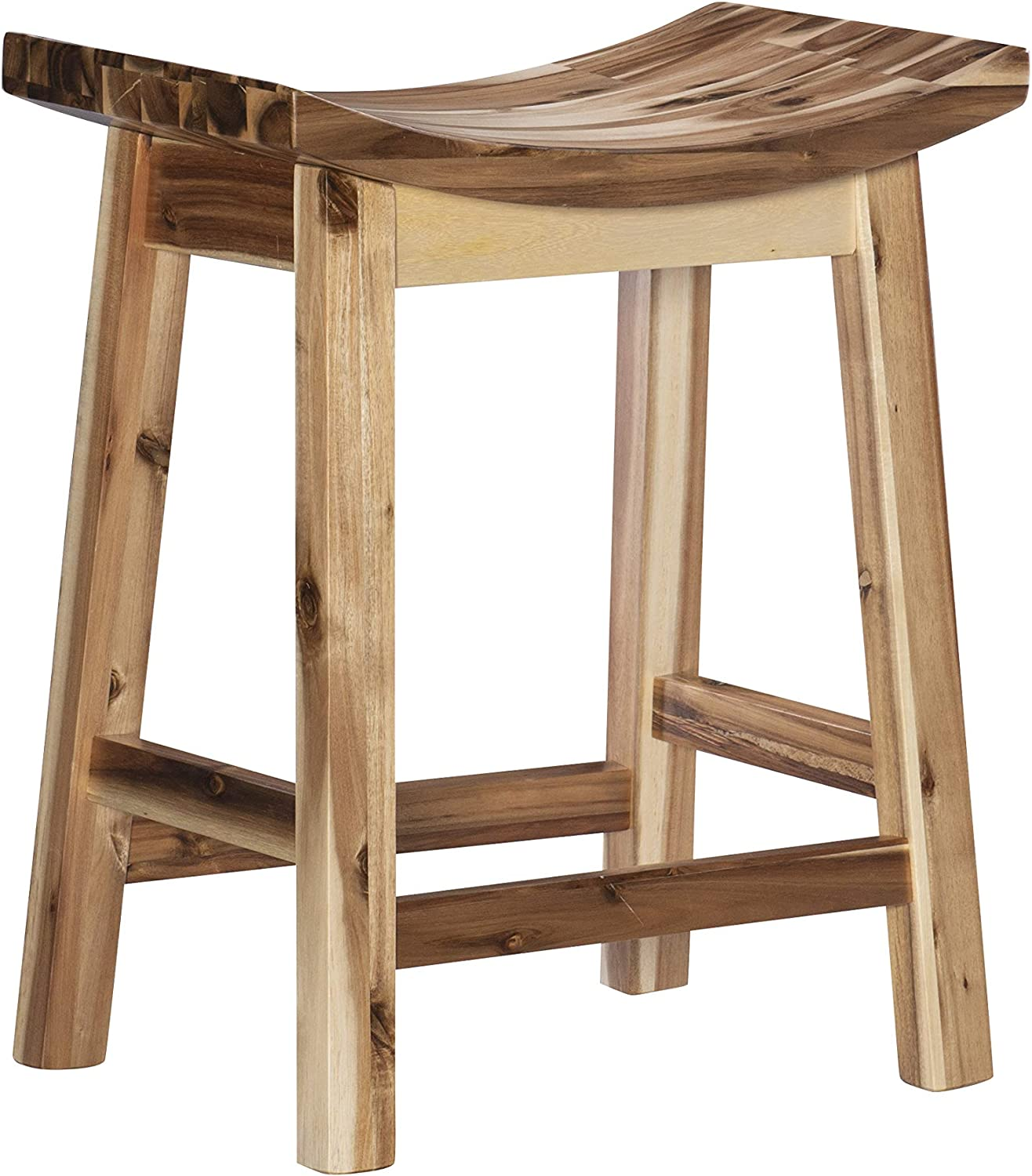 Powell Furniture Dale Saddle Bar Stool Natural Wood