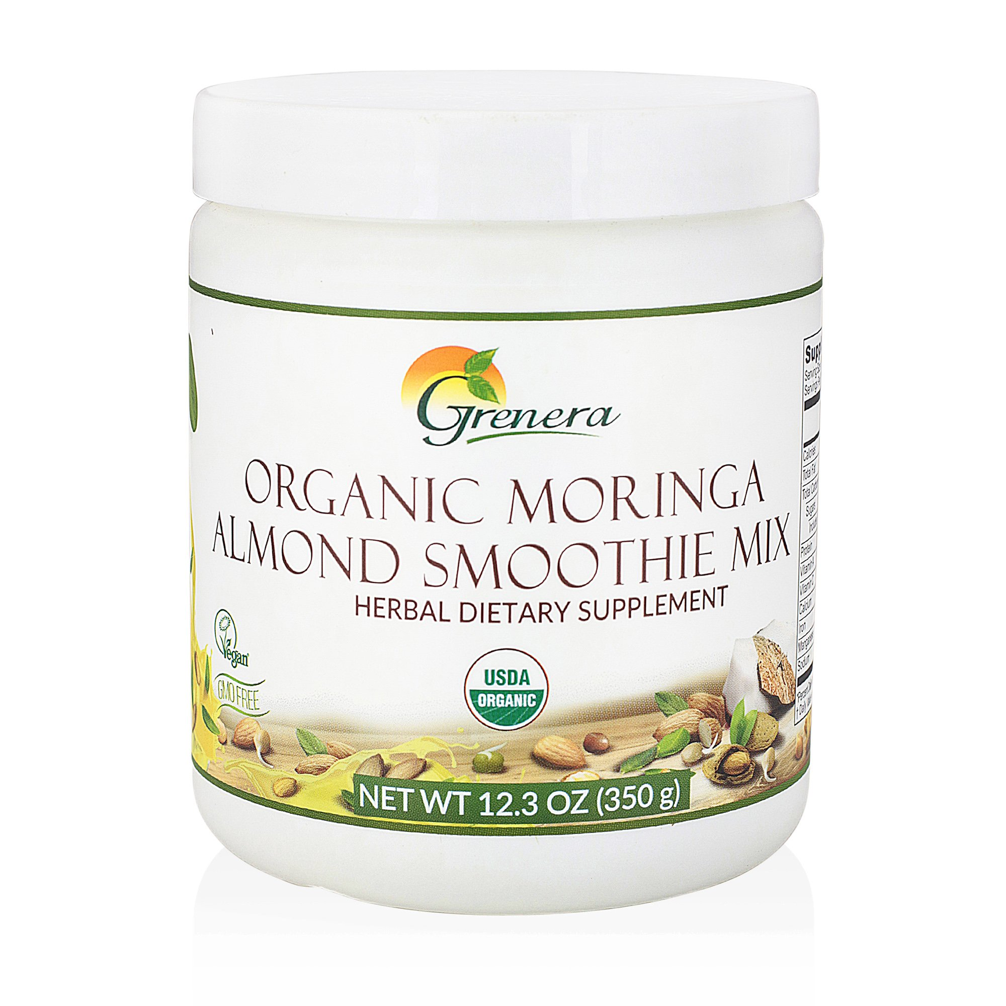 Grenera Organic Moringa Almond Smoothie Mix - 12.3 Ounce / 350 g - USDA Organic , Vegan, Kosher Certified
