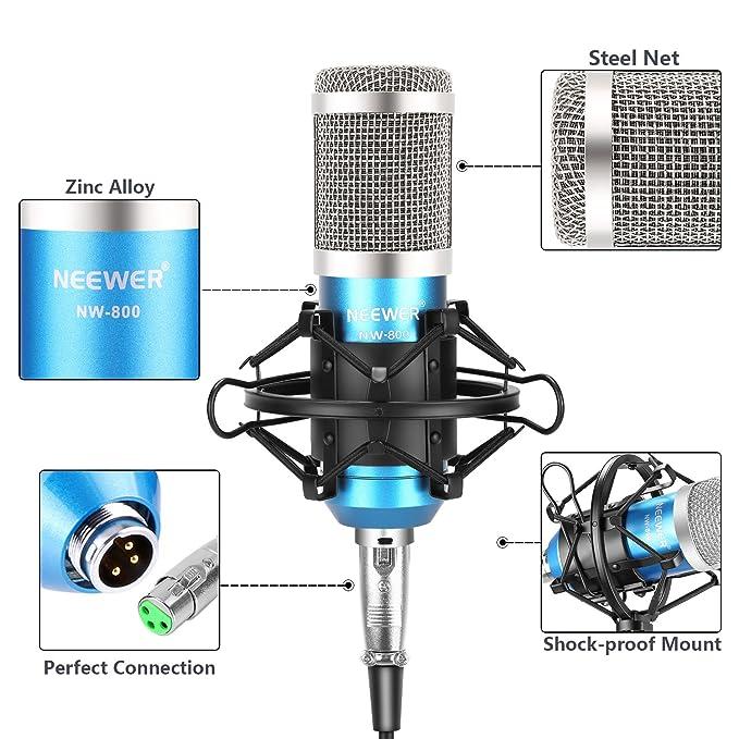 Neewer NW-800 Pro Estudio Micrófono Condensador con NW-35 Microfono Ajustable Suspensión Tijera Brazo Soporte con Montura Choque Negro y Abrazadera ...