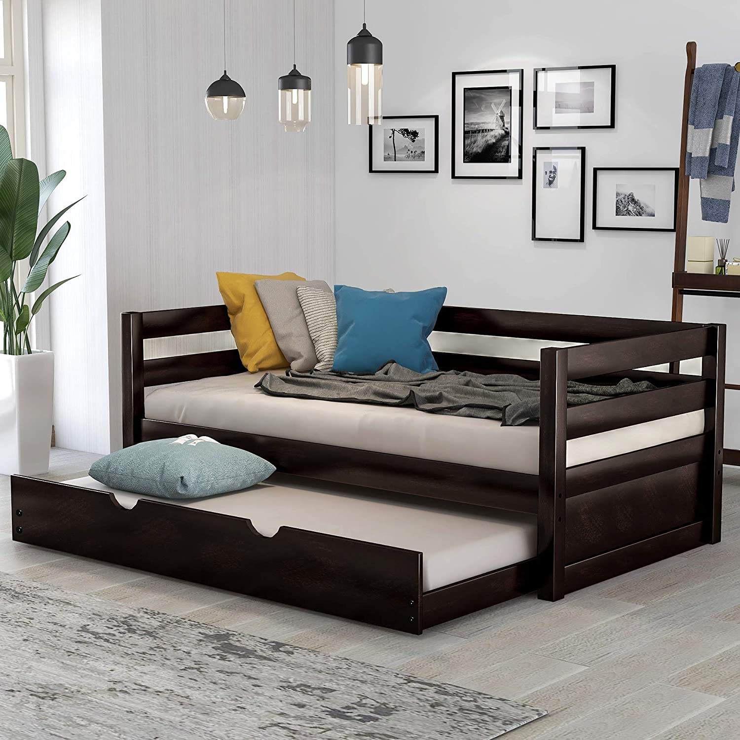 Daybed With A Trundle Twin Daybed With Pull Out Trundle Solid Wood Bed Frame Trundle Bed Twin Size For Kids Dark Brown Kitchen Dining