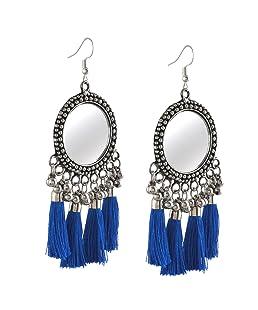 Zephyrr Drop Earring for Women (Silver & Blue)(JAE-2268)