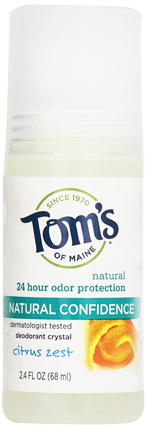 Tom's of Maine Natural Confidence Roll On Deodorant, Citrus Zest, 2.4 Ounce