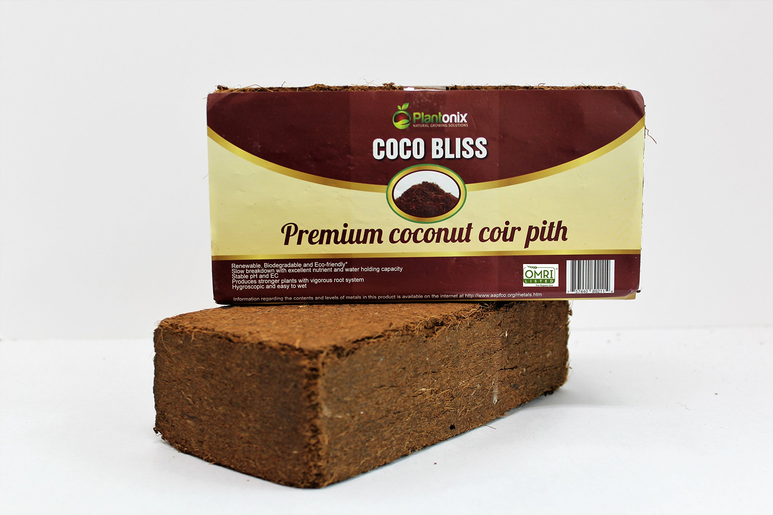 Plantonix Coco Coir Brick, OMRI Listed for Organic Use (50 Bricks) by Plantonix