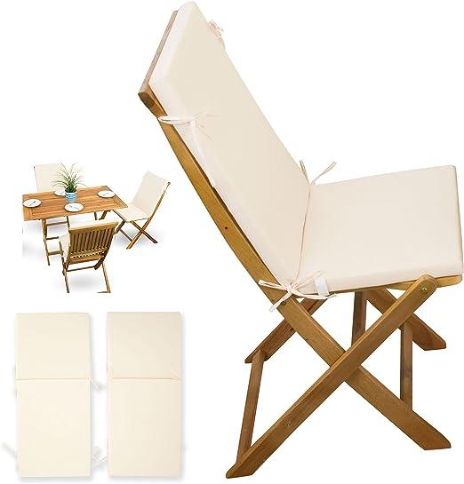 2 piezas, cojines # Crema de blanco # para muebles de jardín madera Sets Jardín Silla plegable # 2 x Cojines con respaldo: Amazon.es: Jardín