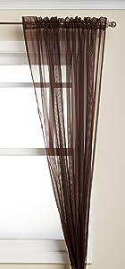 "WPM 2 Piece Beautiful Sheer Window Elegance Curtains/drape/panels/treatment 60""w X 84""l (Coffee Brown)"