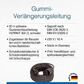 As Schwabe Gummi Verlängerungsleitung 50 M Kabel Mit Schutzkontaktstecker Schutzkontaktkupplung Inkl Schutzkappe 230 V 16 A Verlängerungskabel Ip44 Made In Germany Schwarz I 60340 Baumarkt