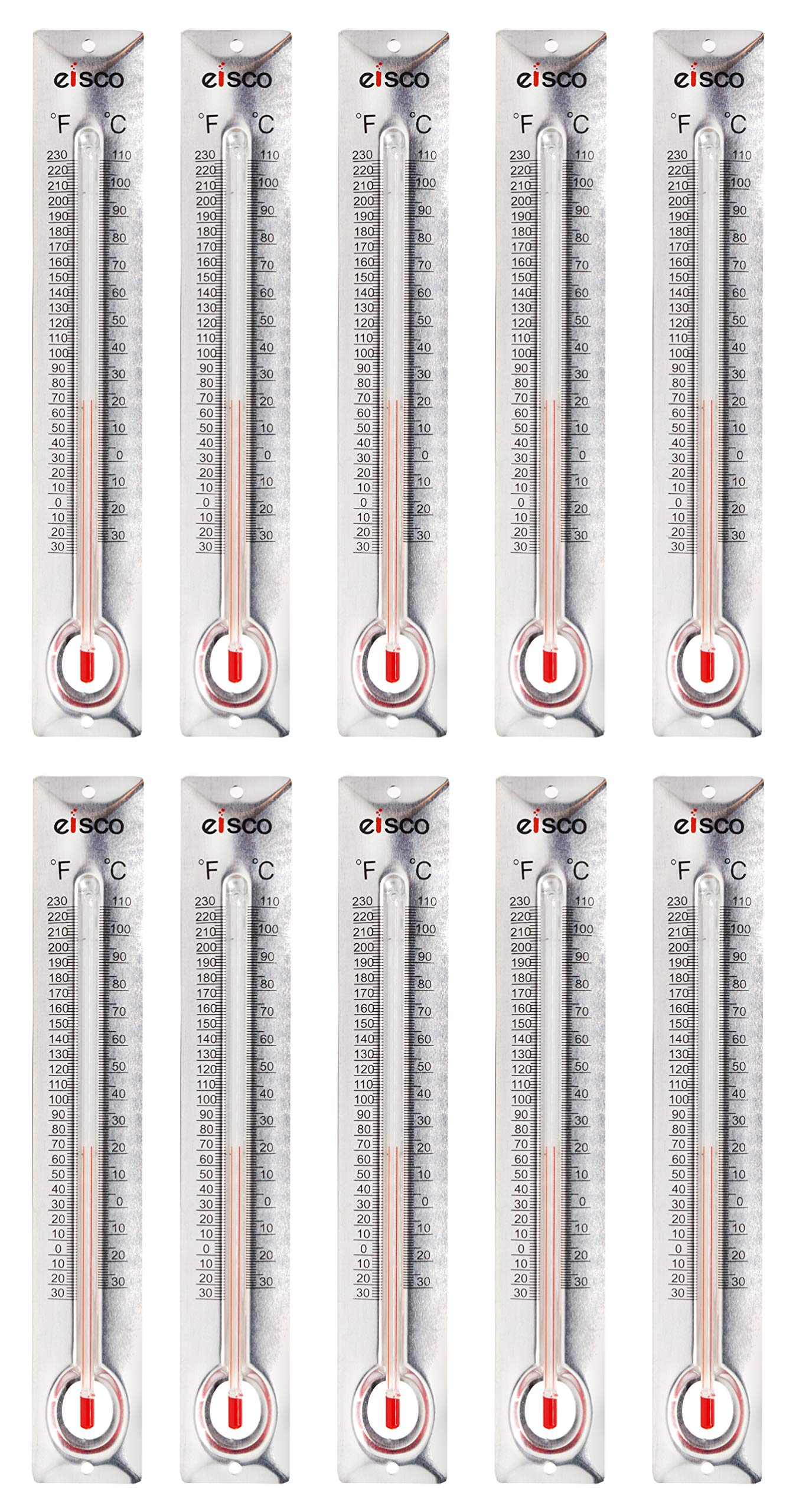 10 Pack - Aluminum Thermometers, -30 to 110°C / 30 to 230°F, Measurement in Celsius & Fahrenheit - Aluminum Backing, Glass - Spirit Filled - 6.5'' Long, 1'' Wide - Eisco Labs