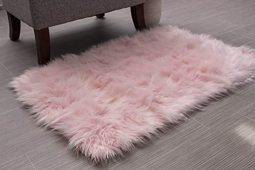 Super Area Rugs Soft Faux Fur Sheepskin Shag Silky Rug Baby Nursery Childrens Room Rug Light Pink, 2' x 3'
