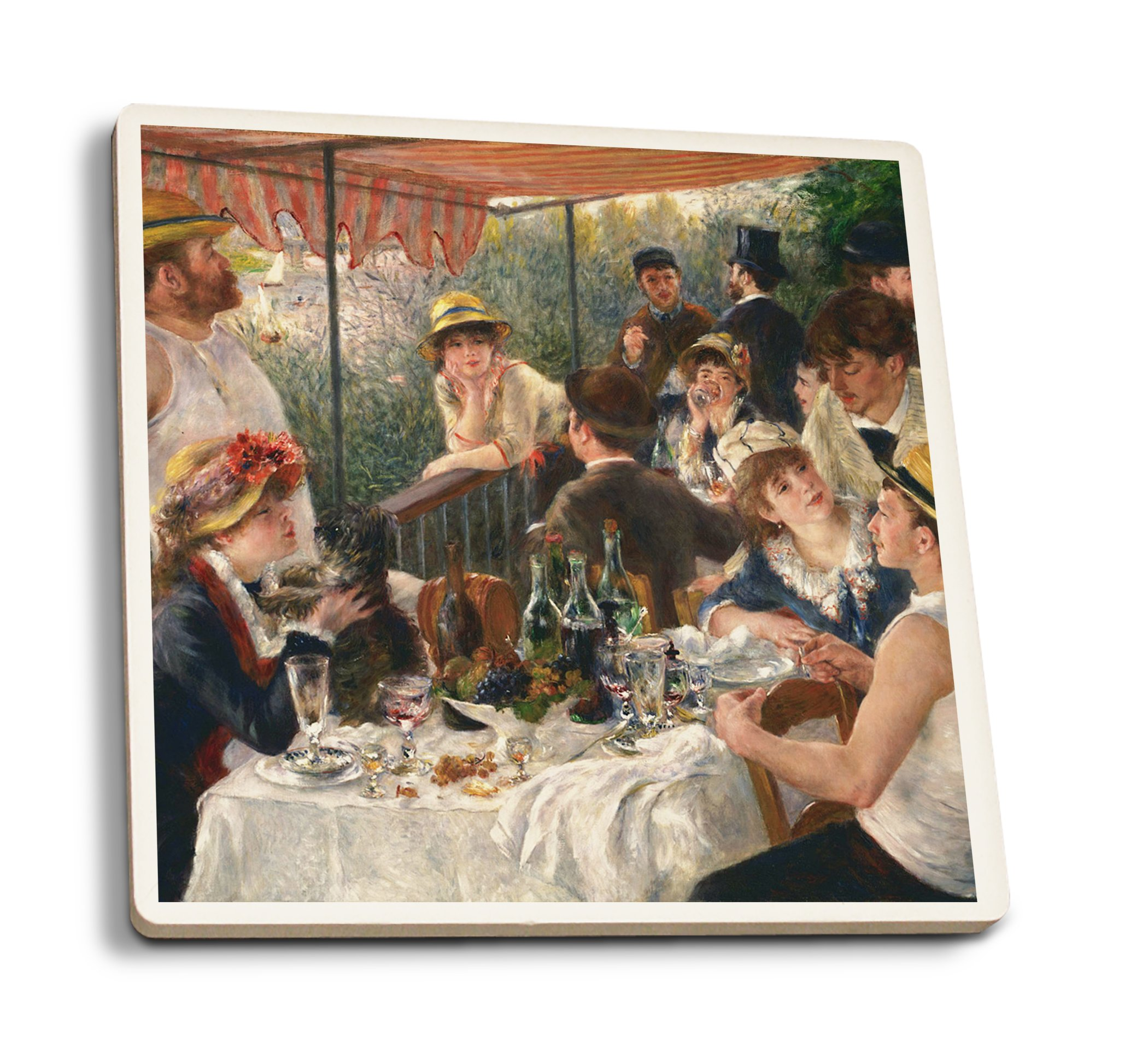Luncheon of The Boating Party - Masterpiece Classic - Artist: Pierre-Auguste Renoir c. 1880 (Set of 4 Ceramic Coasters - Cork-Backed, Absorbent)
