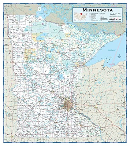 Amazon.com: Laminated 24x27 Poster: Road Map - Minnesota ...