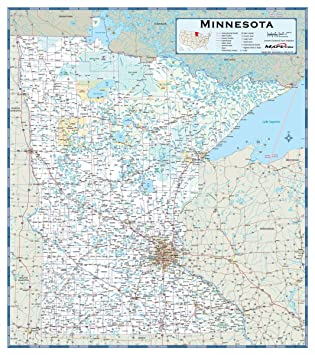 Amazon.com: Laminated 24x27 Poster: Road Map - Minnesota Highway ...