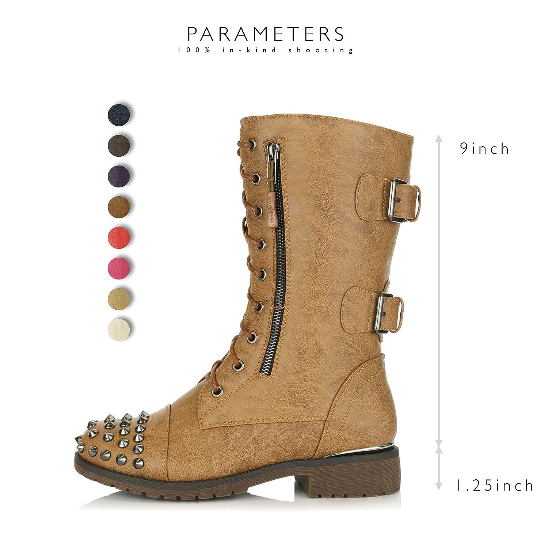 b661e7e7dd3 DailyShoes Women s Cordones militares para arriba Botas de combate de  hebilla Mid Knee High Exclusive Tarjeta de crédito de bolsillo Botines con  tachuelas ...