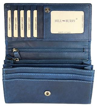 0f416da244c57 Hill Burry hochwertige Vintage Leder Damen Geldbörse Portemonnaie langes Portmonee  Geldbeutel aus weichem Leder in blau