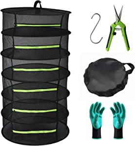 Seropy Herb Drying Rack 6 Layer Collapsible Mesh Hanging Drying Net with Zipper, 2ft Drying Rack with Garden Gloves, Pruning Scissors, Hook, for Drying Seeds, Herb, Bud, Hydroponic Plants(24