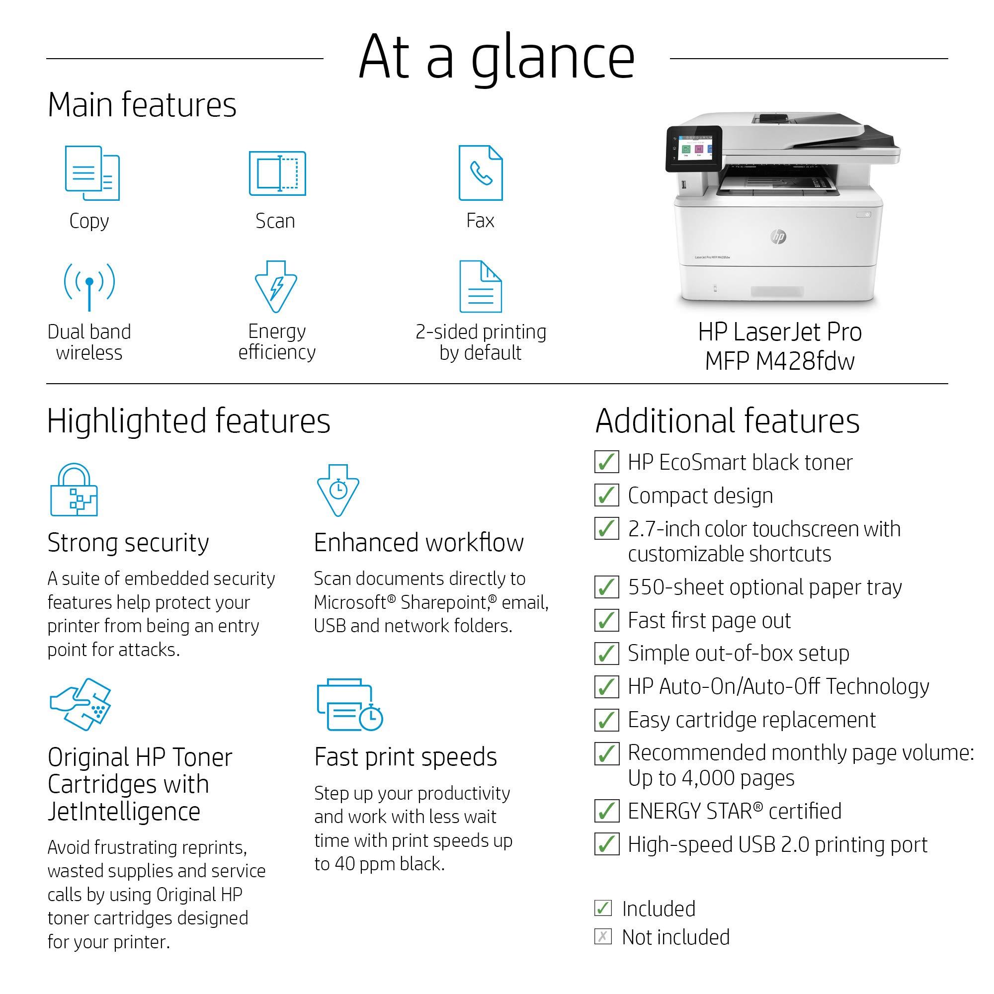 HP LaserJet Pro Multifunction M428fdw Wireless Laser Printer (W1A30A) by HP (Image #4)
