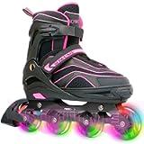 Otw-Cool Adjustable Inline Skates for Kids and Adults, Outdoor Blades Roller Skates with Full Light Up LED Wheels, Safe…