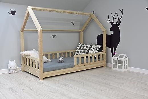 Best For Kids Kinderbett Kinderhaus mit Rausfallschutz Jugendbett Natur Haus Holz Bett mit oder ohne 10 cm Matratze in 8 Größen (70x140 cm mit... 1