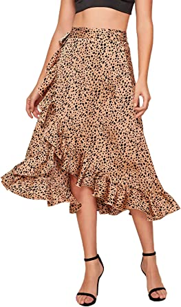 Amazon Com Shein Falda De Saten Para Mujer Con Estampado De Leopardo Clothing